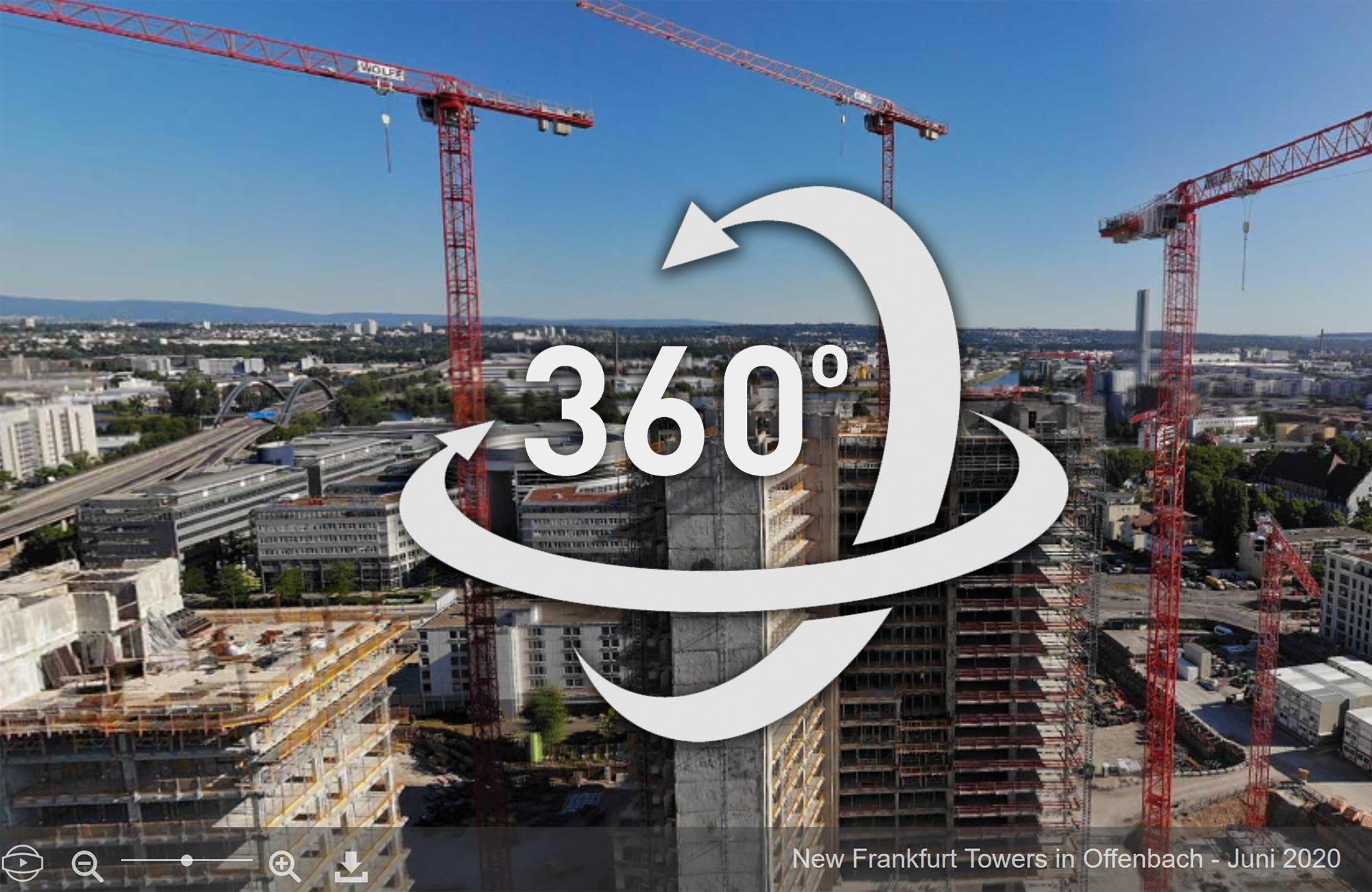 360 Grad Luftaufnahme Offenbach - Frankfurt - Kaiserlei - Panoramaaufnahme Rundumsicht Kugelpanorama mit Drohne