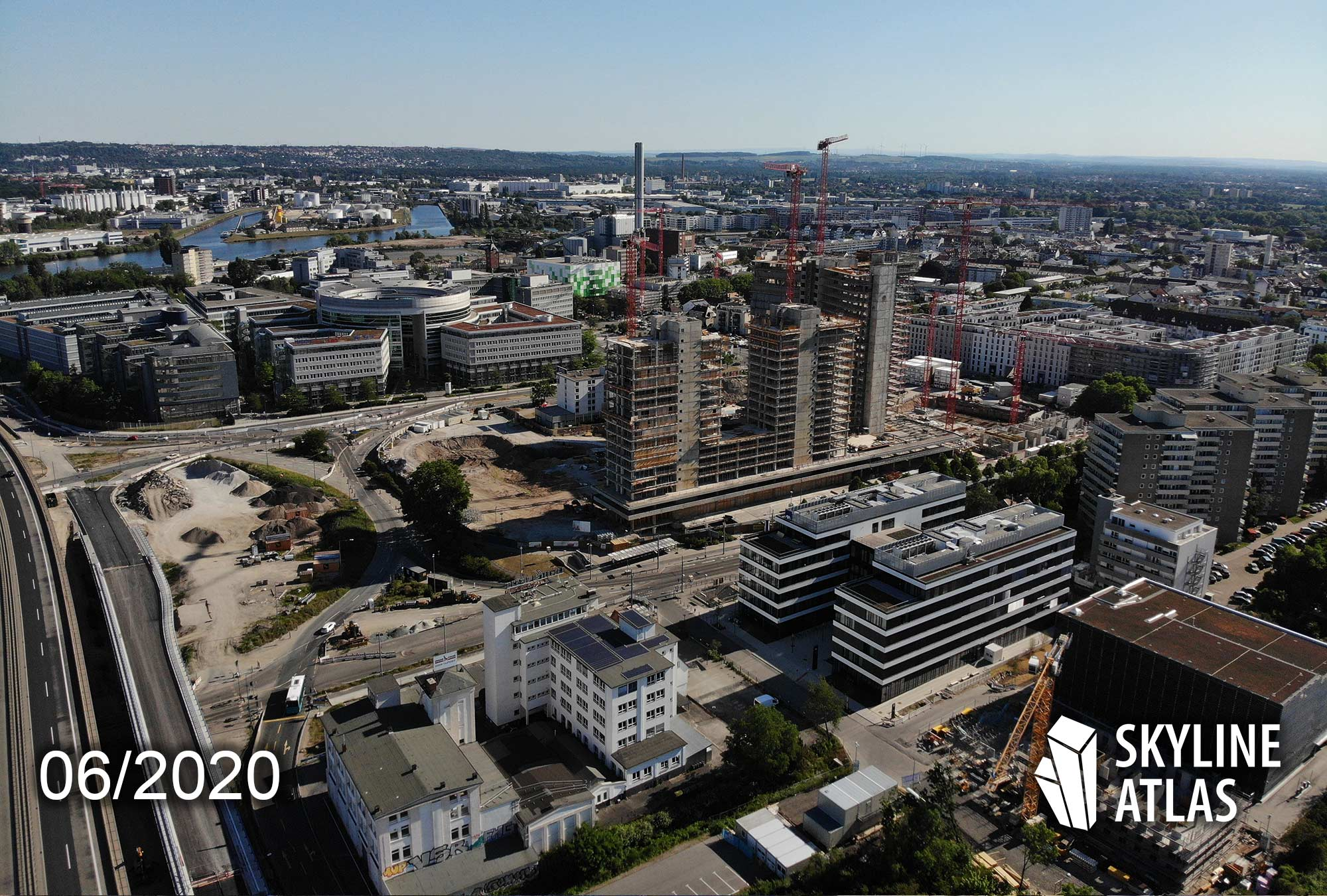 Kaiserleigebiet Offenbach am Main - Luftaufnahme Offenbach - Drohnenaufnahme Offenbach Kaiserlei - New Frankfurt Towers - Vitopia Campus - AXA Offenbach Kaiserlei