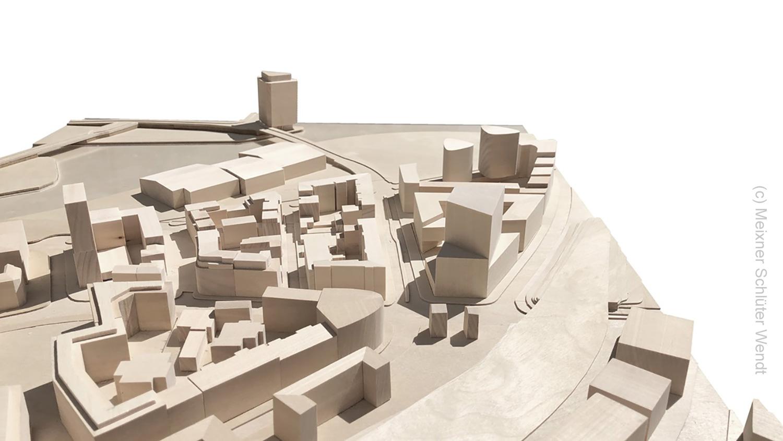 Das Umgebungsmodell vom Hafenpark Quartier (HPQ) zeigt das neu geplante Hafenpark Offices an der Hanauer Landstraße