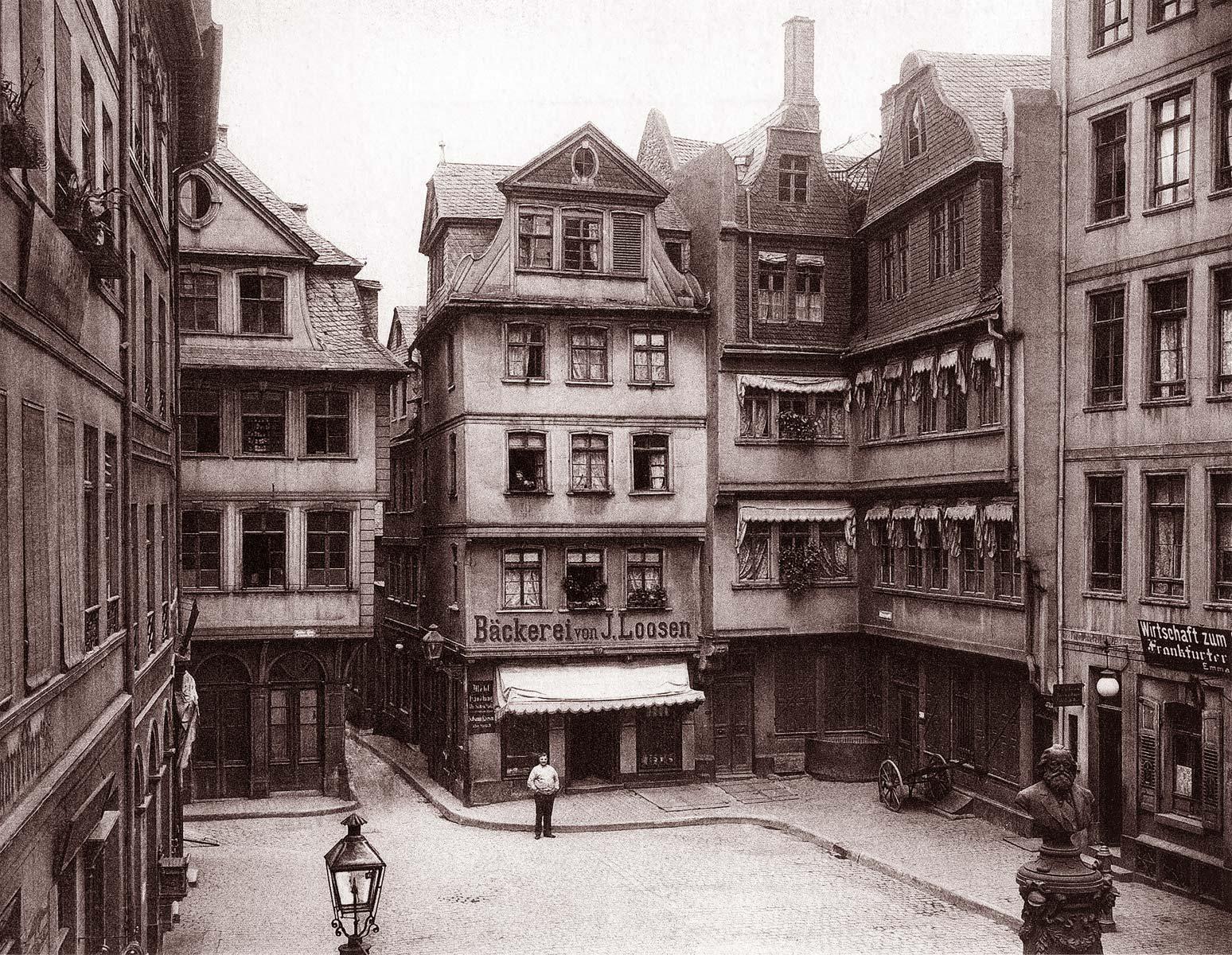 Altstadt Frankfurt - Hühnermarkt - um das Jahr 1900 herum