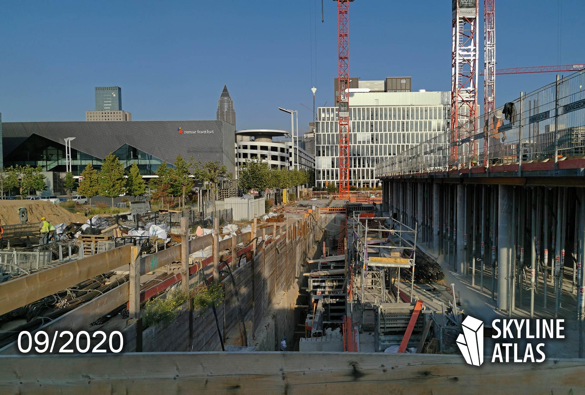 FAZ Tower Hochhaus Frankfurt - Baufortschritt 09/2020 - Europaviertel Neubau