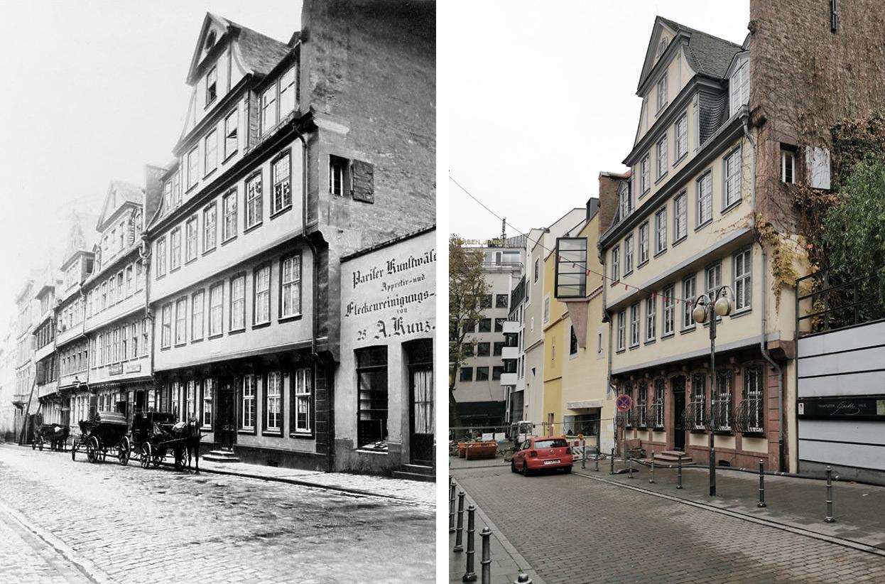 Goethehaus Frankfurt am Main - Wiederaufbau Goethe Haus - alt vs neu