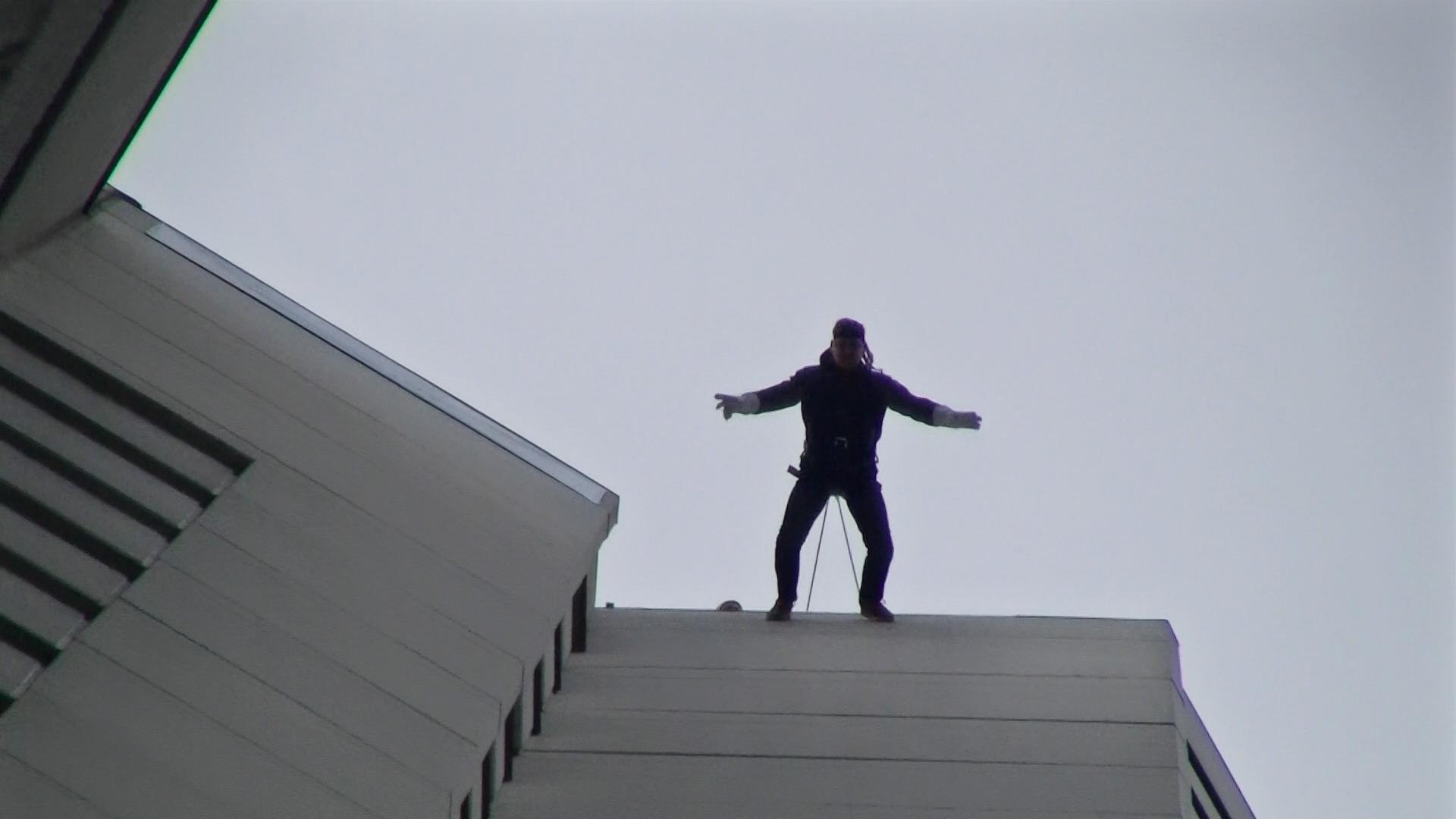 Sky Running Jochen Schweizer - Frankfurt am Main - Houserunning Hochhaus - House Running am Wolkenkratzer