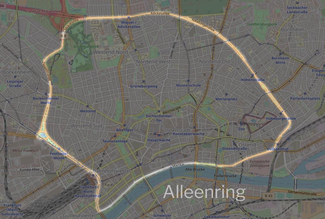 Alleenring Frnakfurt am Main - Alleenring FFM - Karte - Wo der Alleen-Ring verläuft