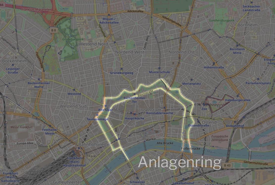 Anlagenring Frankfurt am Main - Anlagenring FFM - Karte - Wo der Anlagen-Ring verläuft