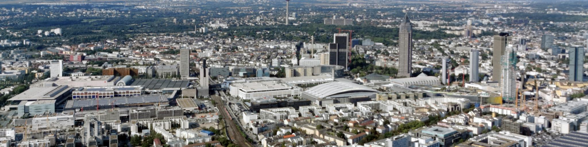 Europaviertel Frankfurt am Main - Panorama - Drohnenaufnahme - Luftaufnahme Frankfurt