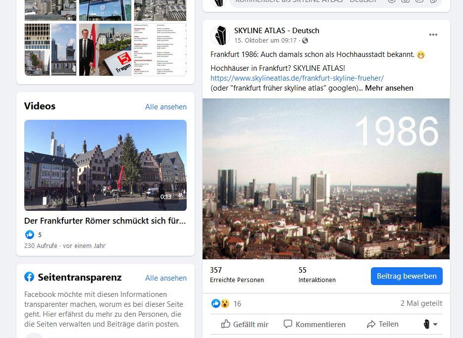 Hochhäuser Frankfurt bei Facebook - SKYLINE ATLAS - Wolkenkratzer Mainhattan - Immobilien und Architektur in Frankfurt