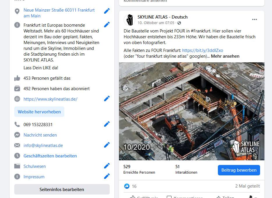 FOUR Frankfurt Facebook - Artikel über Wolkenkratzer Frankfurt/Main im SKYLINE ATLAS