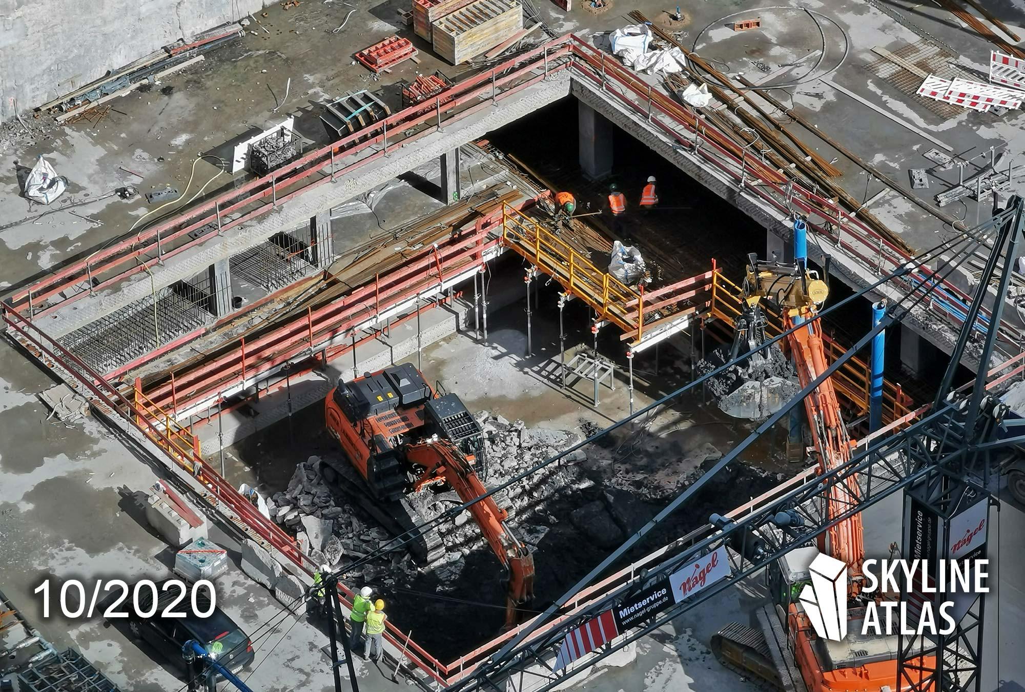 Baustelle FOUR Frankfurt im Herbst 2020