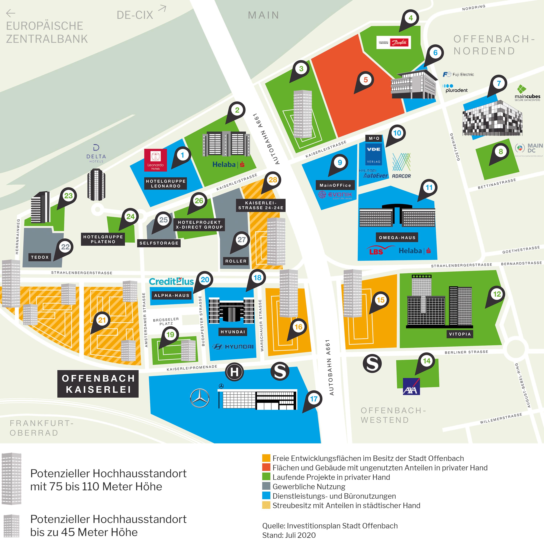Investitionsplan Kaiserlei - Stadt Offenbach - Geplante Hochhäuser Offenbach Kaiserlei - Karte - Immobilienstandort Offenbach am Main