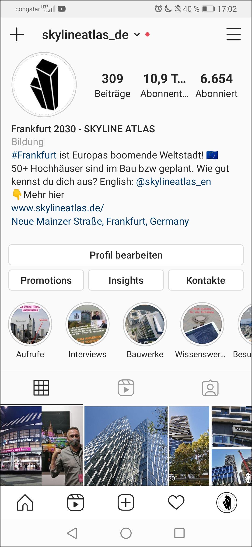 SKYLINE ATLAS auf Instagram - Immobilien Social Media - Soziale Medien Architektur - Hochhäuser Frankfurt