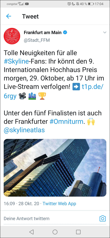 Stadt Frankfurt twittert über den IHP 2020 und erwähnt den SKYLINE ATLAS - Internationaler Hochhaus Preis - Twitter Posting