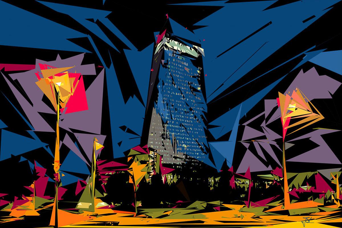 ECB in the Dark - EZB im Dunkeln - Hochhaus Frankfurt Kunstwerk - Europäische Zentralbank Bild von Jürgen Schmidt-Lohmann