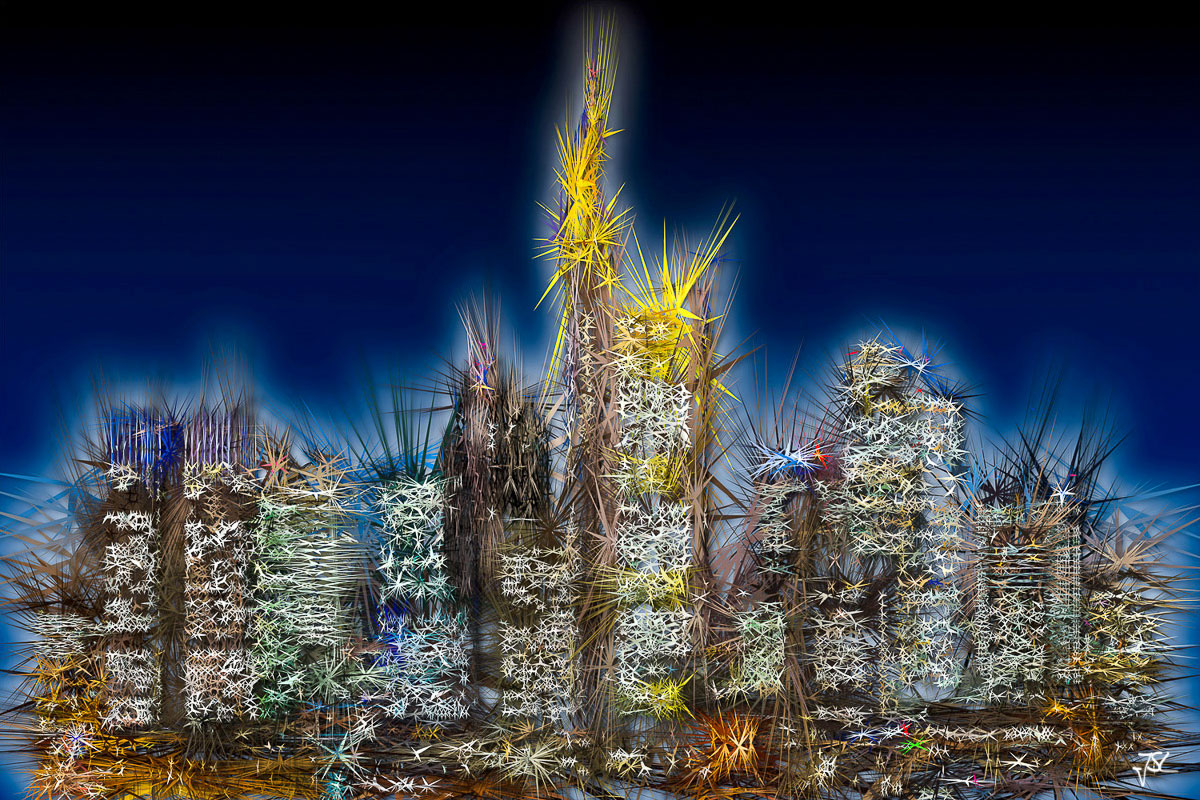 Exploding Profits - Kunstwerk von Jürgen Schmidt-Lohmann - Fotokunst Skyline Frankfurt