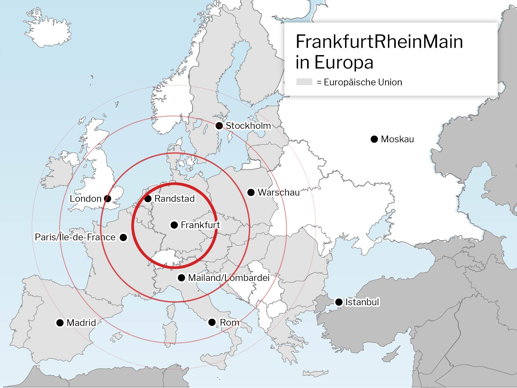 Lage von Frankfurt/Rhein-Main in Europa - EU Karte - Europa Karte - Frankfurt Lage