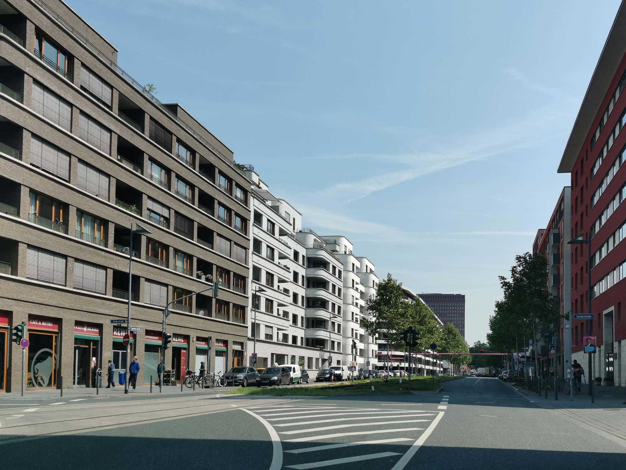 Frankfurt Westhafen - Wohnhäuser in der Hafenstraße und Speicherstraße