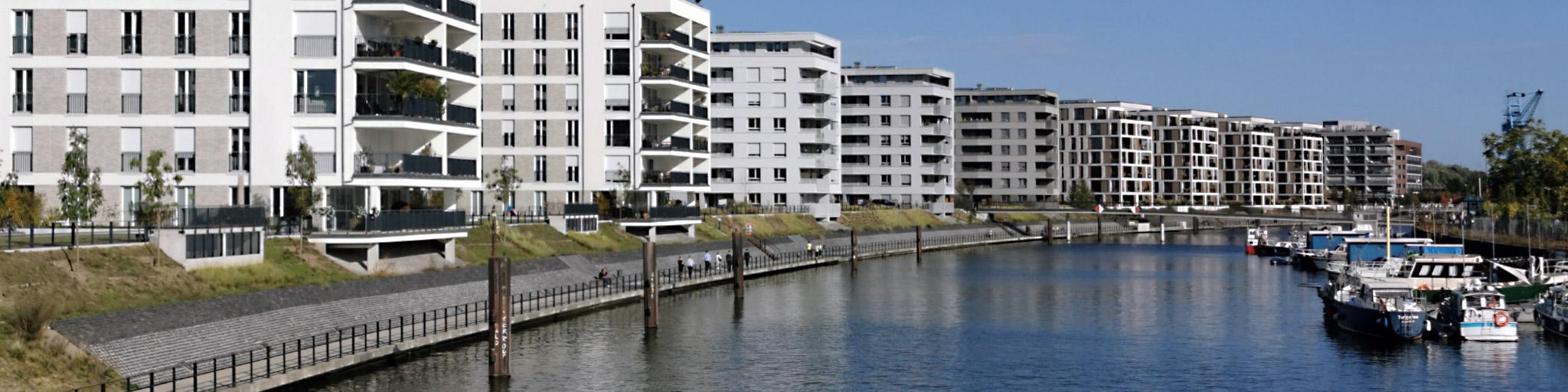 Hafen Offenbach - Hafenviertel Offenbach am Main - Offenbach Hafen - Wohnungen neues Stadtviertel Offenbach - Wohnen am Fluß - Eigentumswohnungen und Mietwohnungen