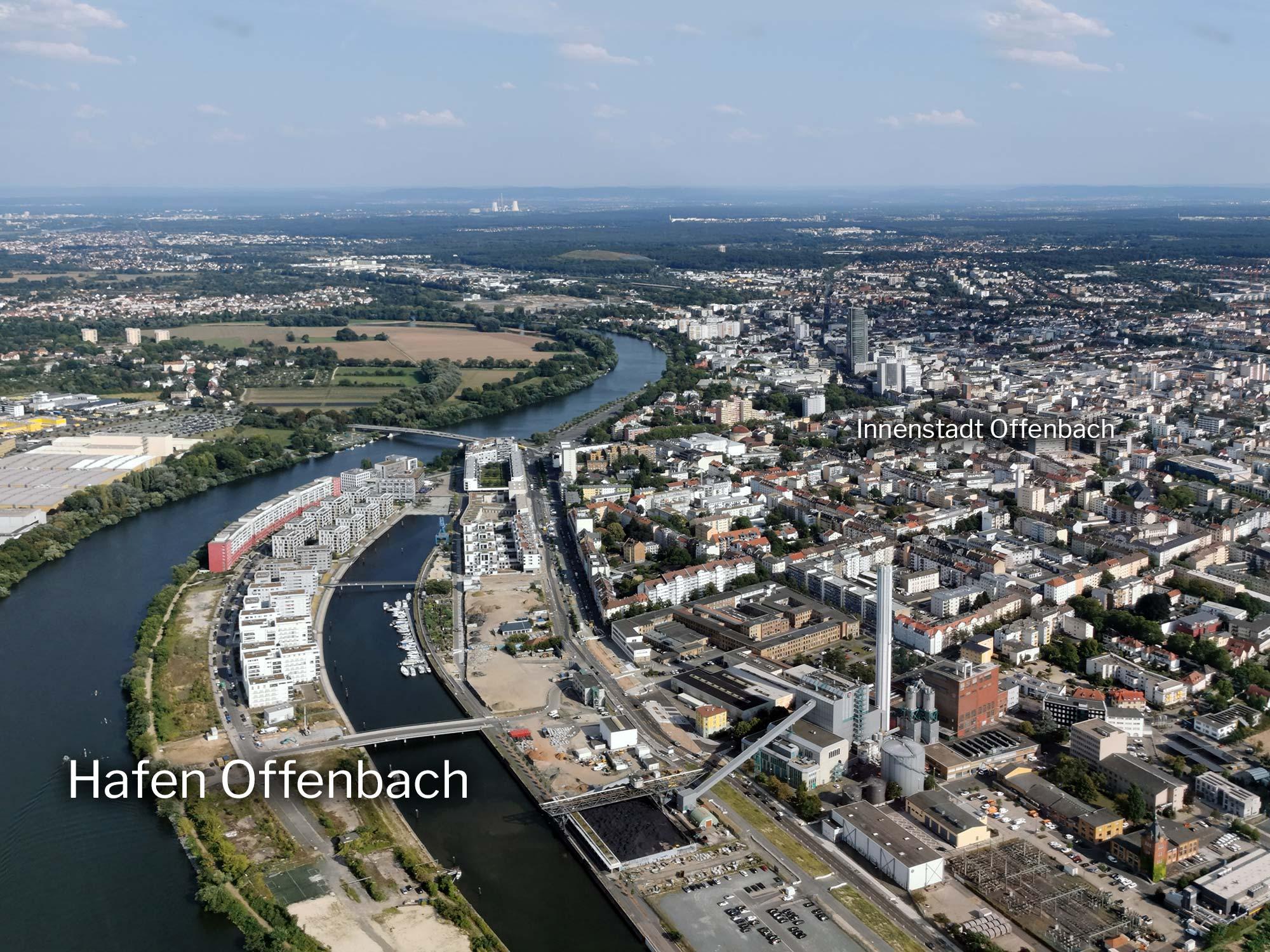 Hafen Offenbach - Offenbacher Hafenviertel Luftbild - Panorama Offenbach am Main