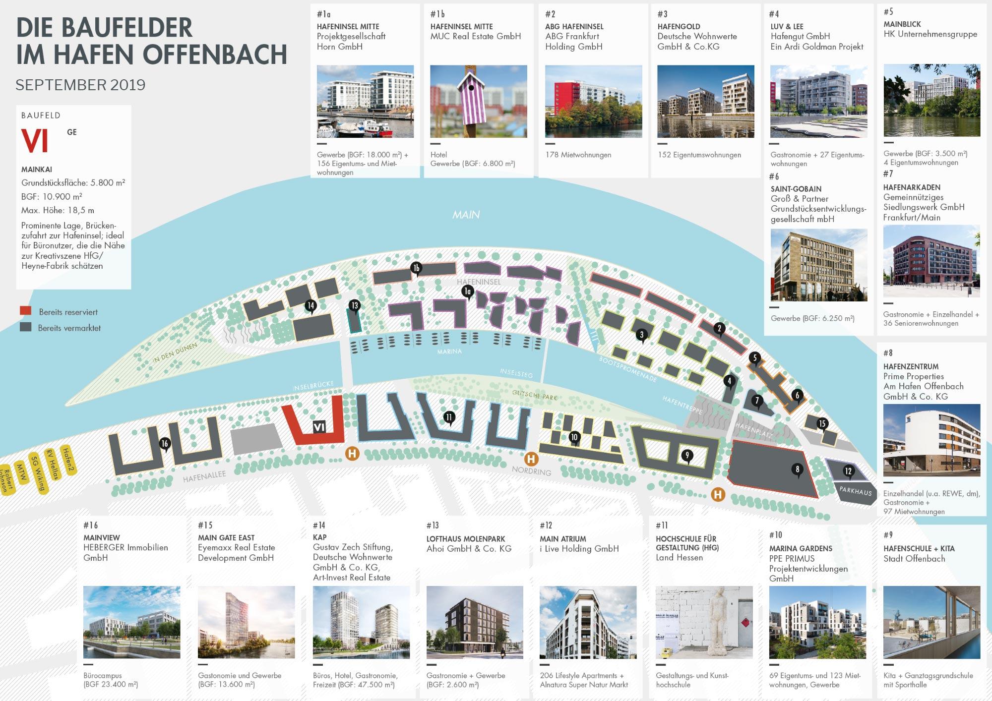 Hafenviertel Offenbach - Offenbach Hafen - Plan der Baufelder