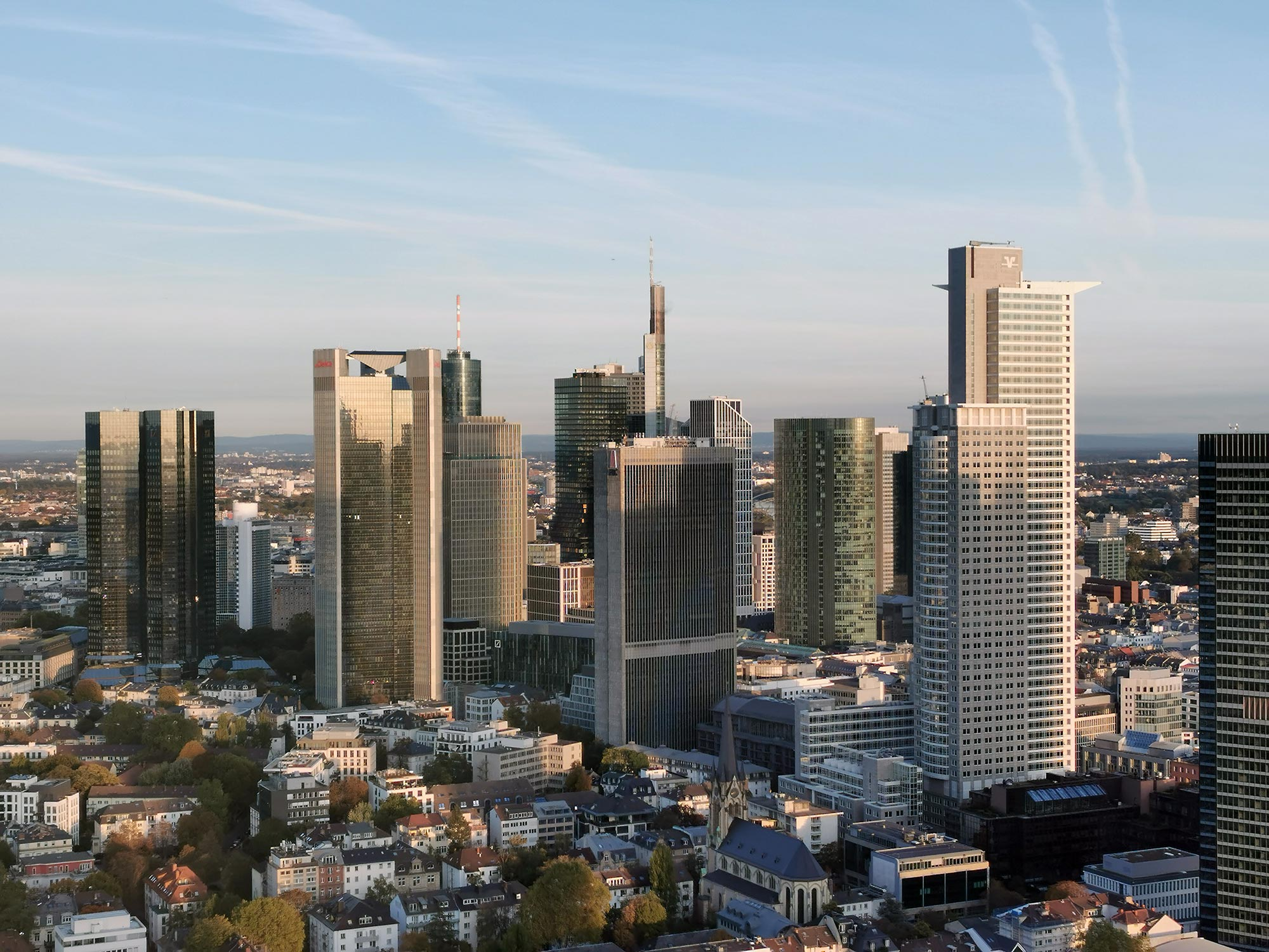 Hochhäuser Frankfurt Foto - Panoramabild Frankfurt a.M. Skyline - Stockbild kostenlos - Panorama Frankfurt herunterladen - Foto Nr. 783-881-046