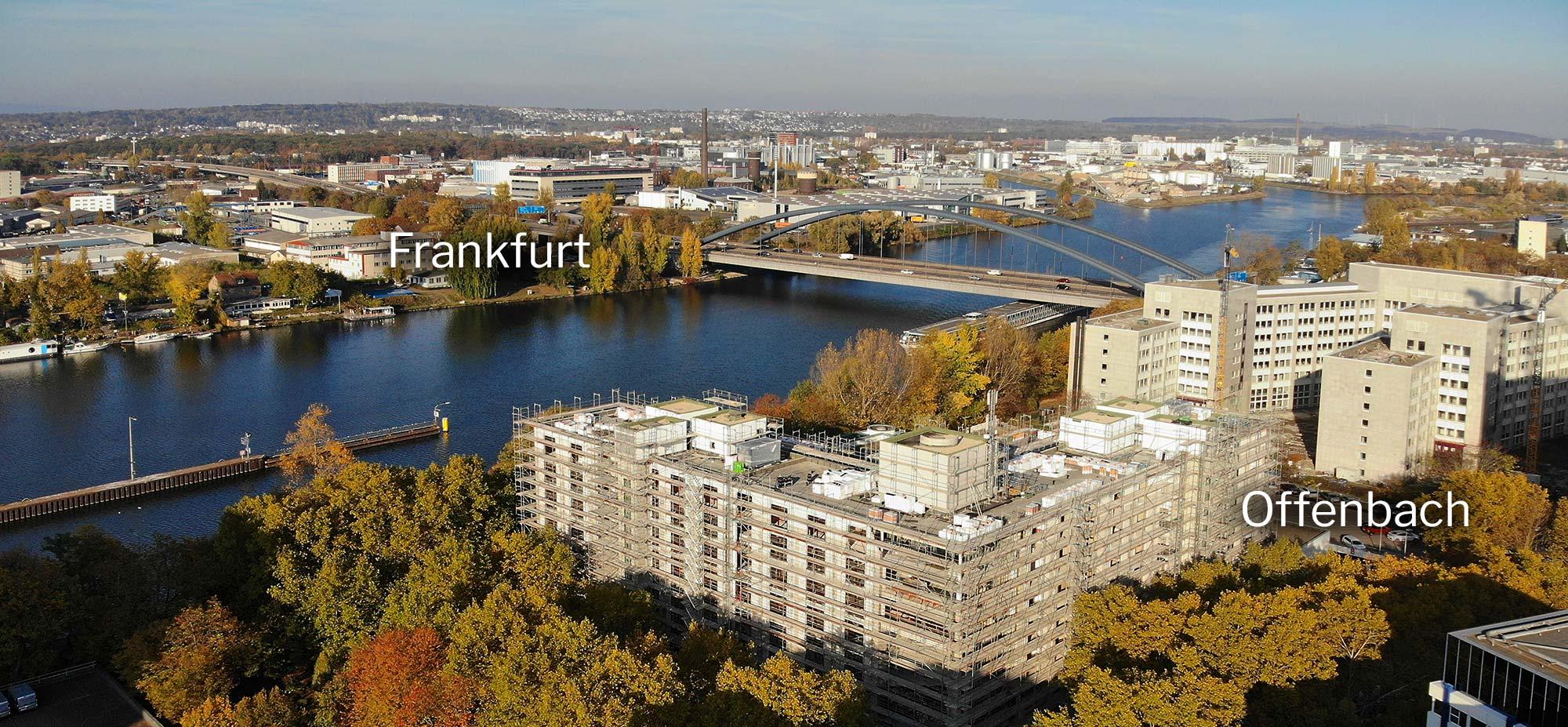 Frankfurt und Offenbach liegen beide direkt gegenüber am Mainufer - Kaiserleigebiet und Kaiserleibrücke