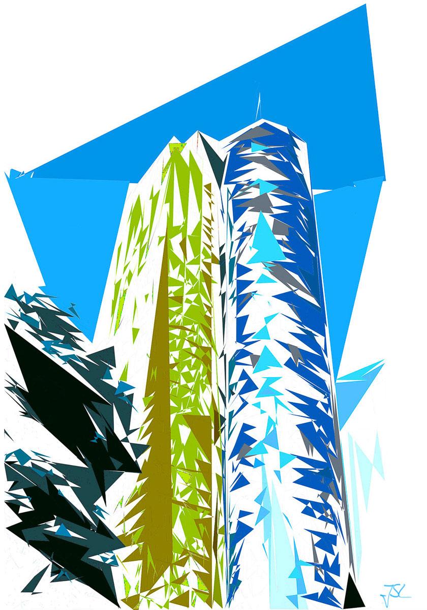 Grafofafie von Jürgen Schmidt-Lohmann - MAIN TOWER Artwork - Fotokunst Wolkenkratzer Hessische Landesbank