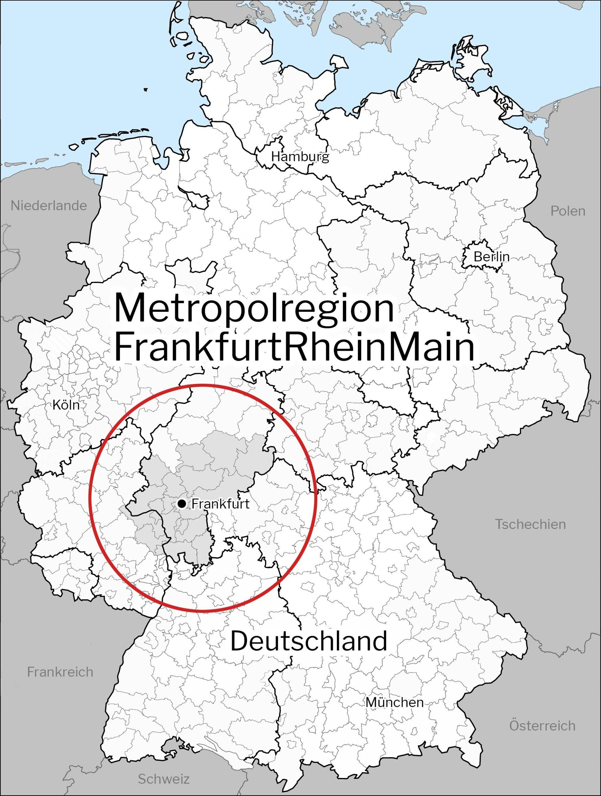 Metropolregion Frankfurt/Rhein-Main - Karte - Rhein-Main-Gebiet Definition
