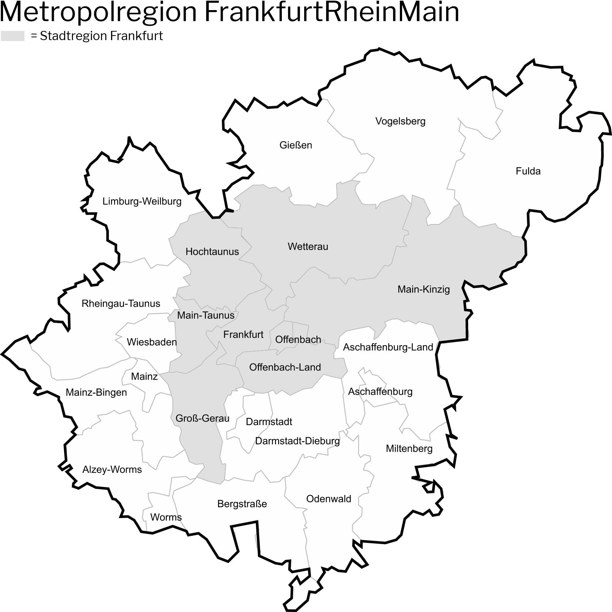 Rhein-Main-Gebiet Karte - Definition - Metropolregion FrankfurtRheinMain - Definition
