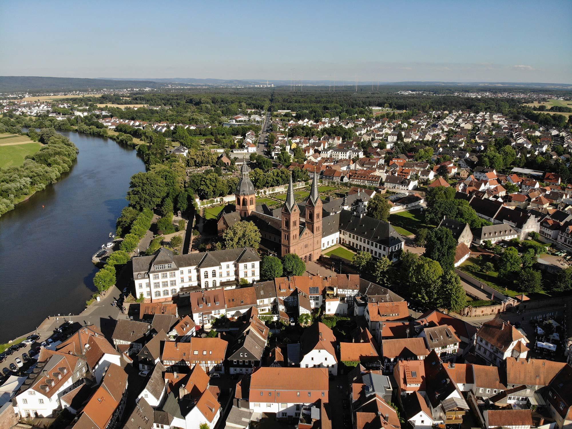 Seligenstadt Panorama - Luftaufnahme Seligenstadt am Main - Rhein-Main-Region