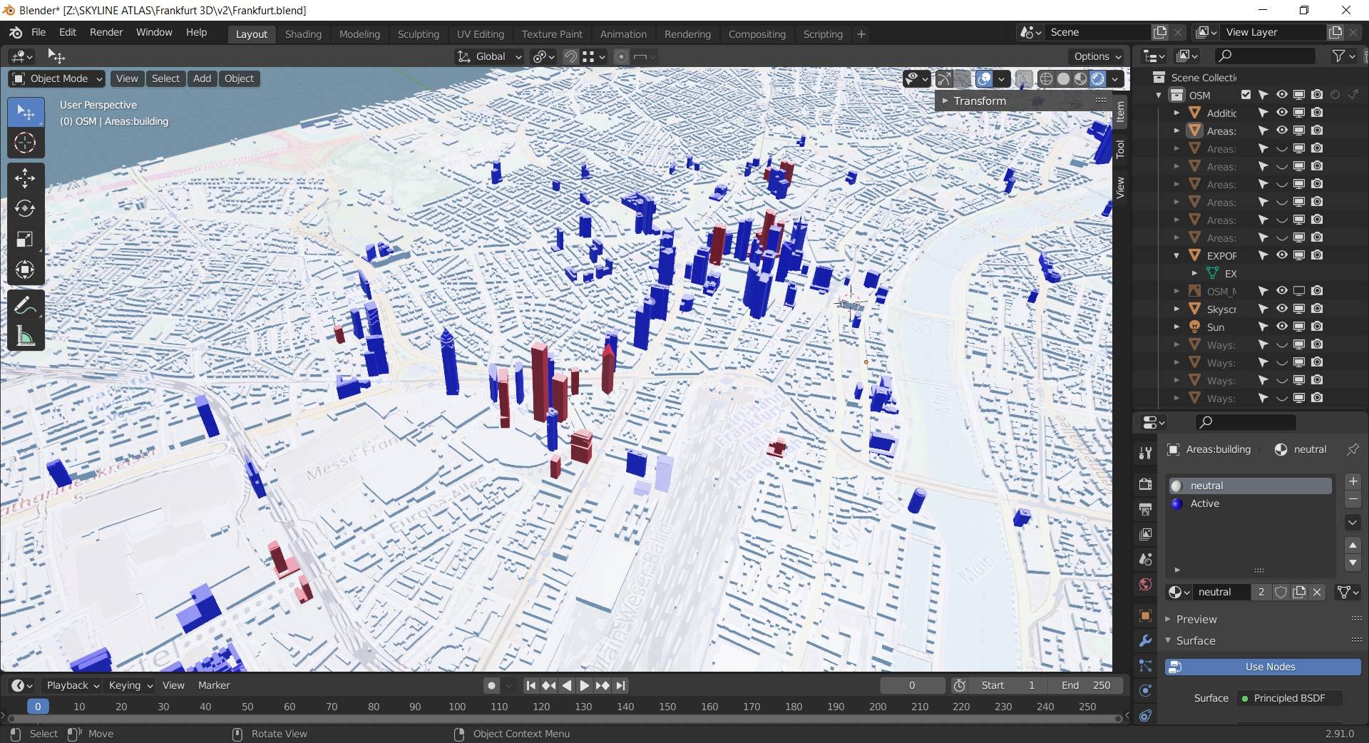 3D Frankfurt - Geplante Wolkenkratzer - Stadtmodell - Computer Modell Frankfurt am Main Zukunft - Wolken-Kratzer und Hochhäuser