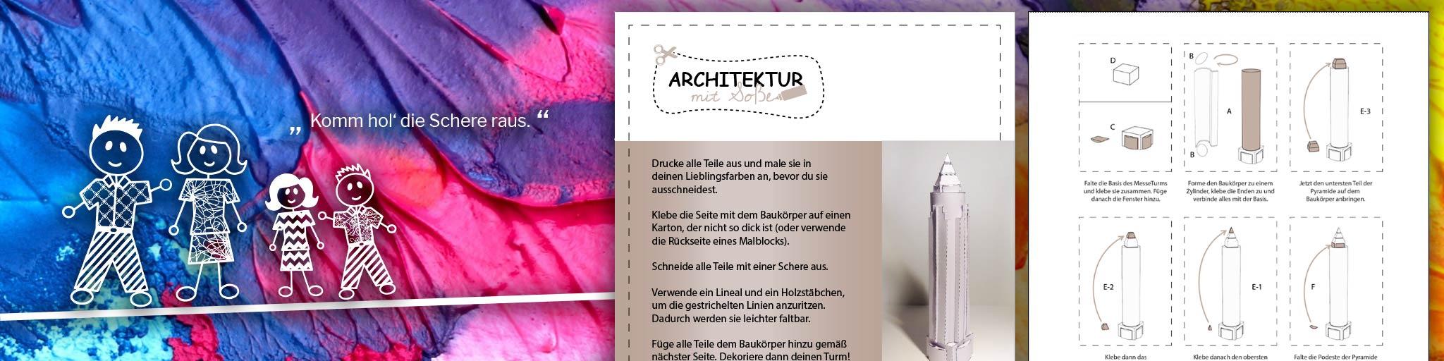 Architektur mit Soße - Frankfurt basteln - Architektur Bastelbogen - Bastelbögen Kinder - Wolkenkratzer basteln - Hochhaus kostenfrei basteln