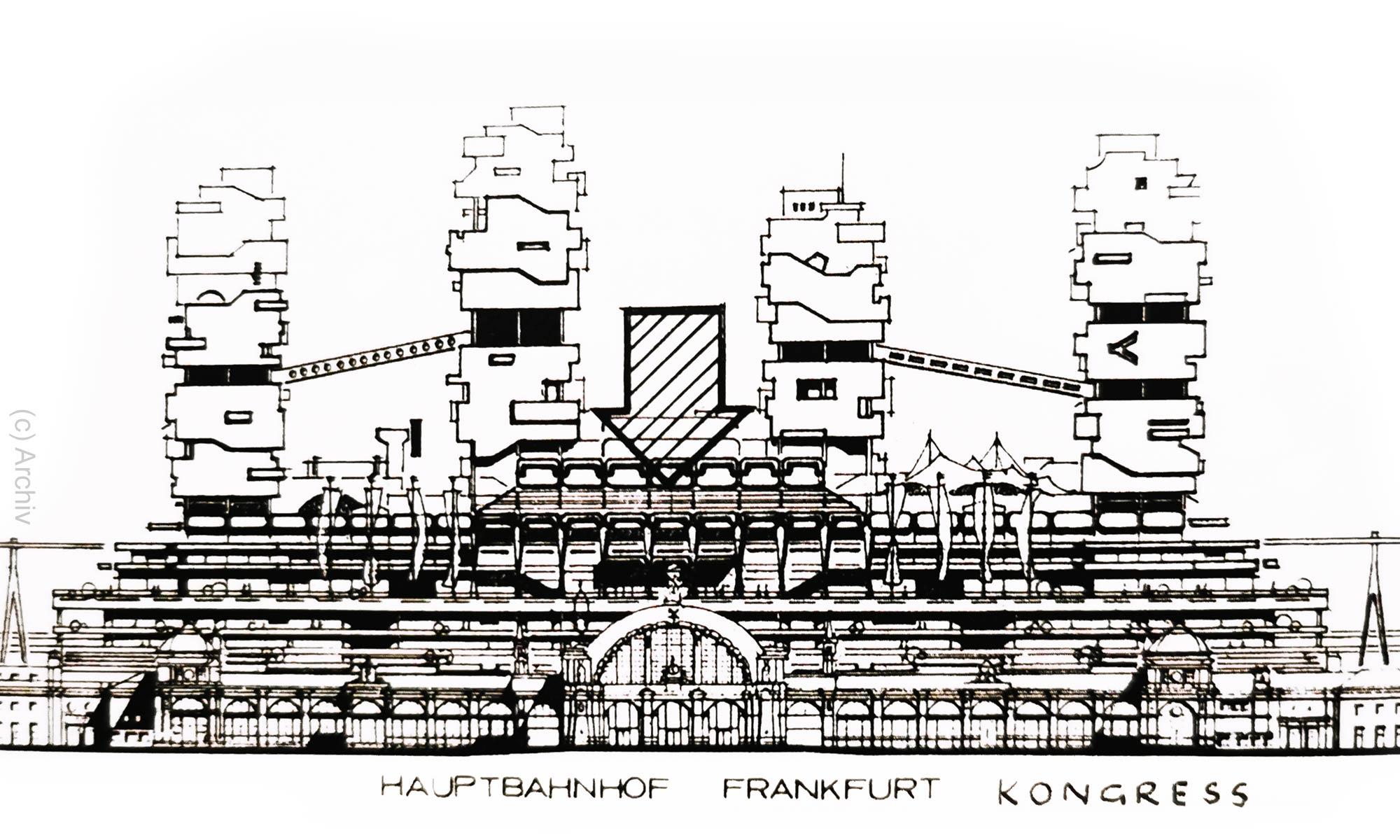 Hauptbahnhof Frankfurt 1970 - Studie Kongress Center - Kongresszentrum - Überbauung mit Hochhäusern