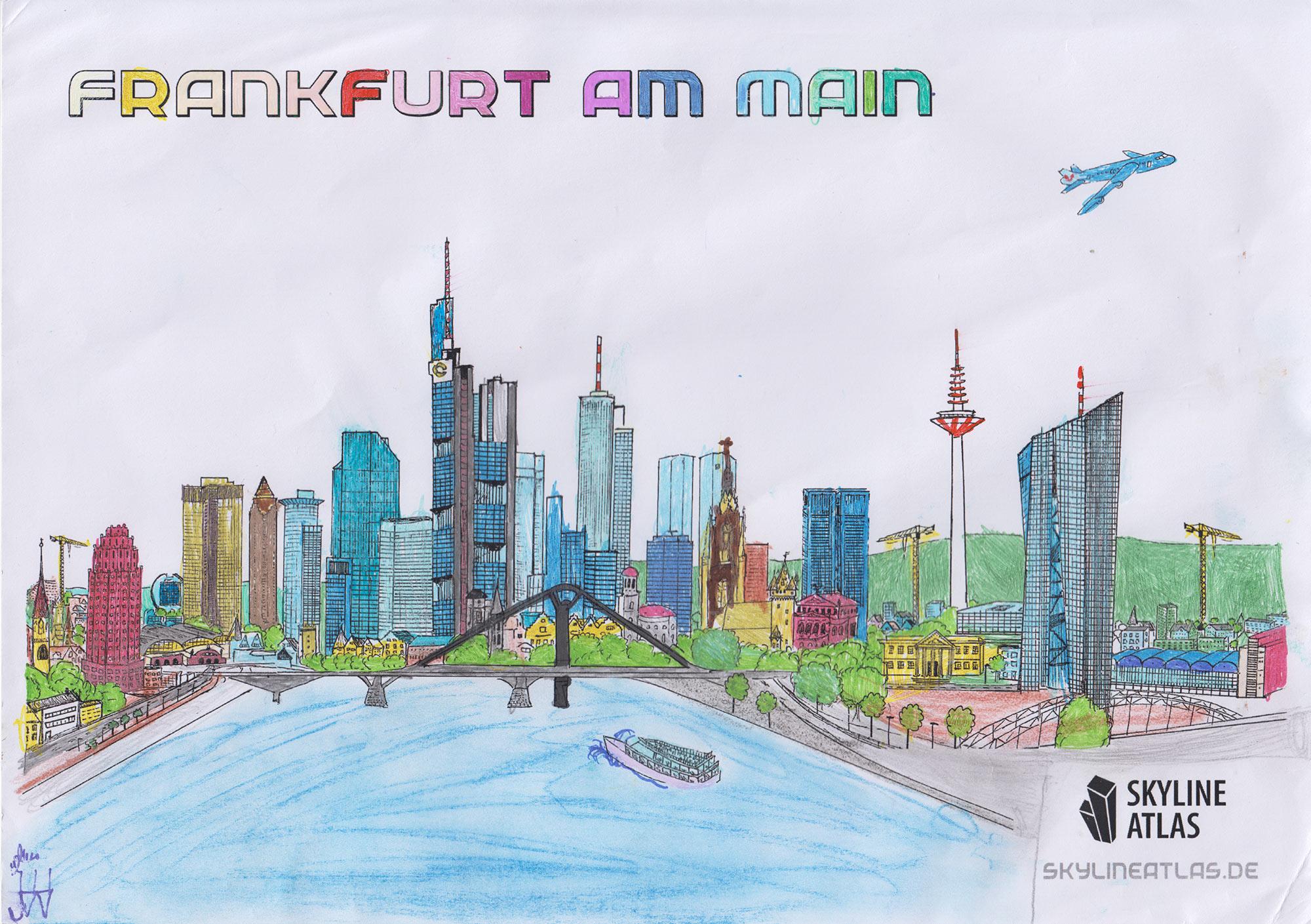 Ausmalbild Frankfurt Hochhäuser - Skyline Frankfurt für Kinder - ausgemalt von Emily
