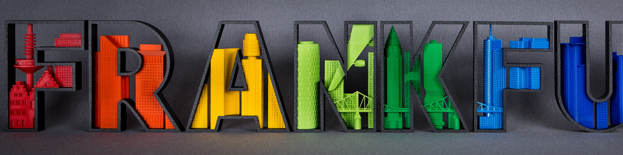 3D Druck Frankfurt - Logo aus 3D Drucker - Frankfurt Schrift