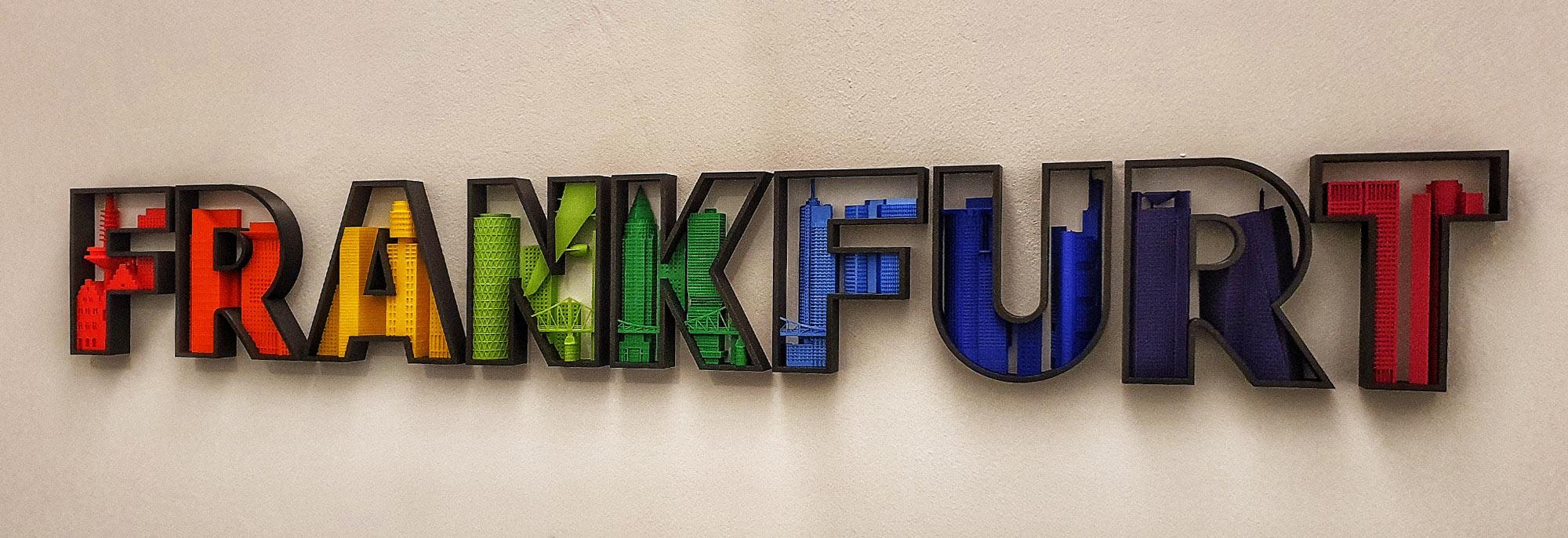 Frankfurt Schriftzug Modell 3 D Druck - Geschenkidee Frankfurt - Exklusives Geschenk Frankfurt - Individuelles Geschenk - Hochhäuser Frankfurt