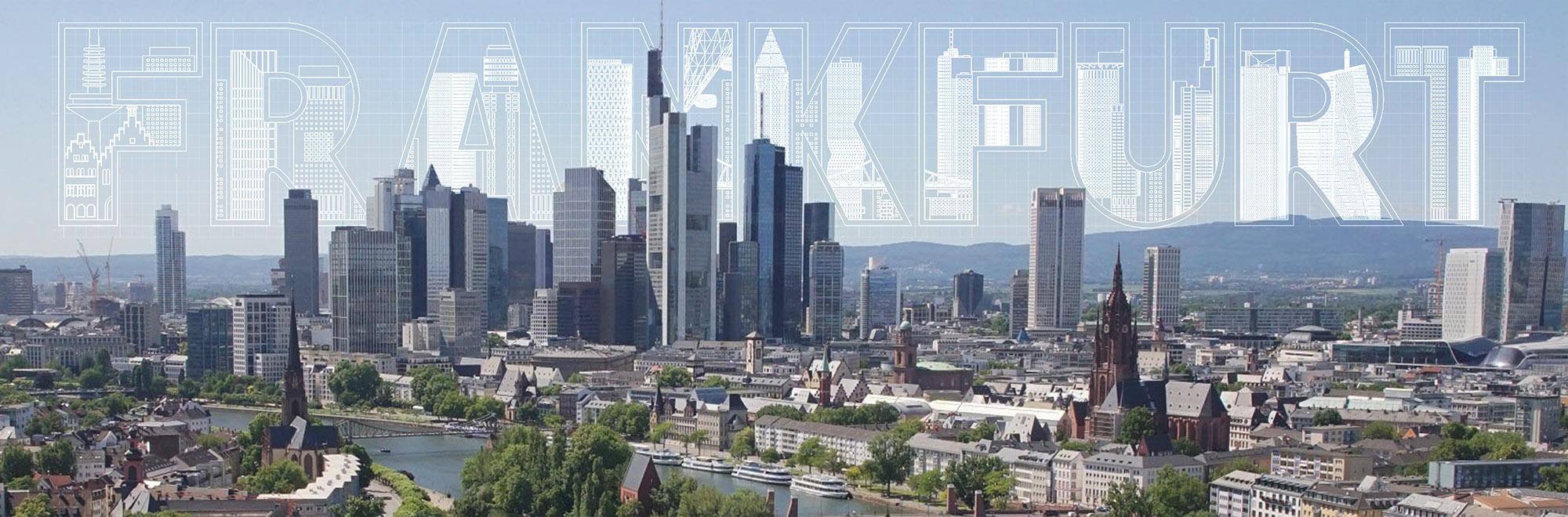 Frankfurt Skyline Druck - Schrift 3D Mainhattan