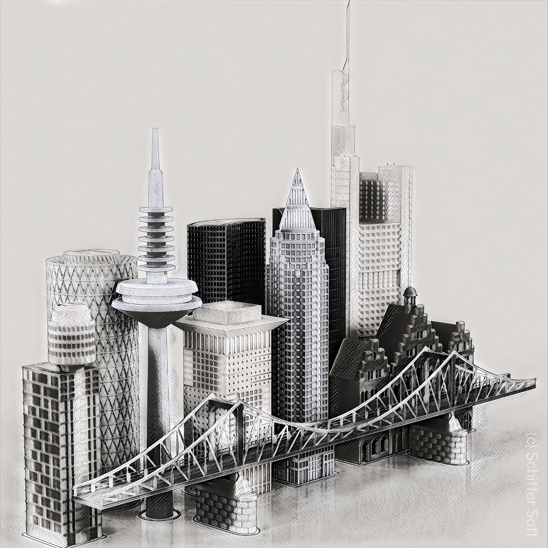 Hochhäuser Frankfurt 3D - Ansicht der Frankfurter Skyline - Collage von Schiffer Soft