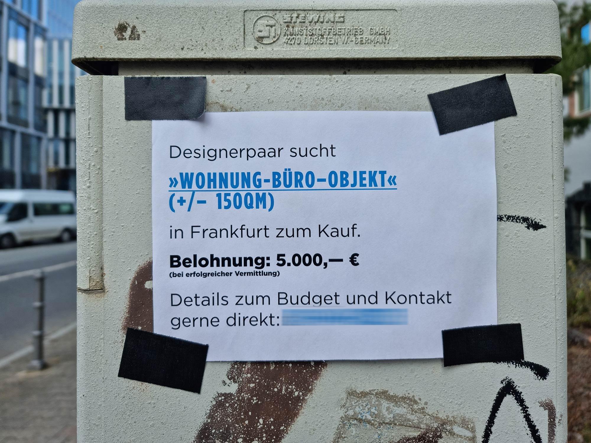 Immobilienmarkt Frankfurt - Wahnsinn Immobilienmarkt - Steigende Immobilienpreise - Mietgesuch - Kopfgeld für Wohnungsvermittlung - Provision Wohnung Frankfurt
