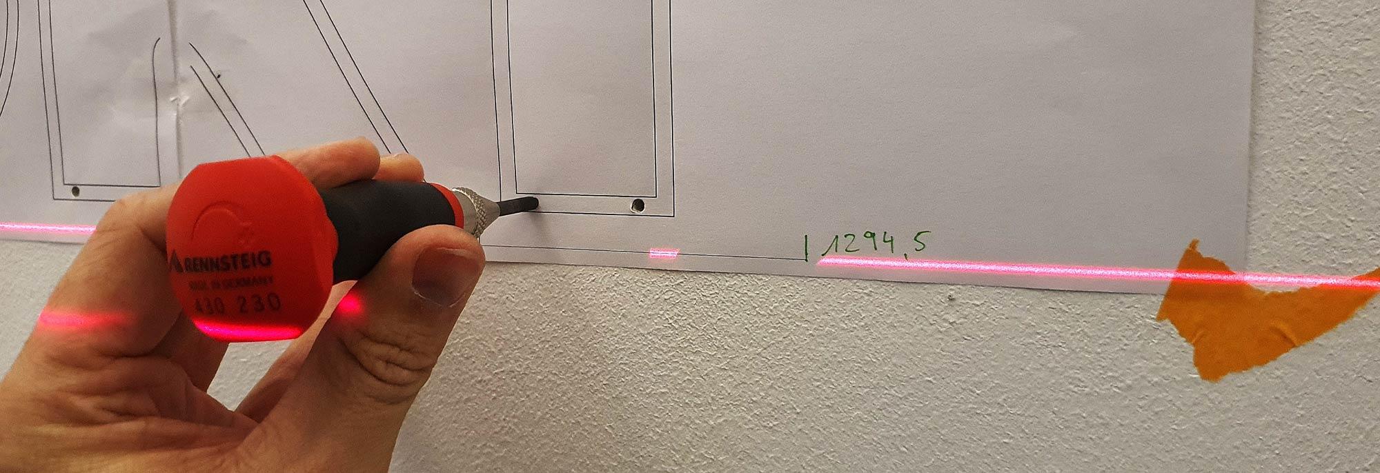 Laser Ausmessung Wand