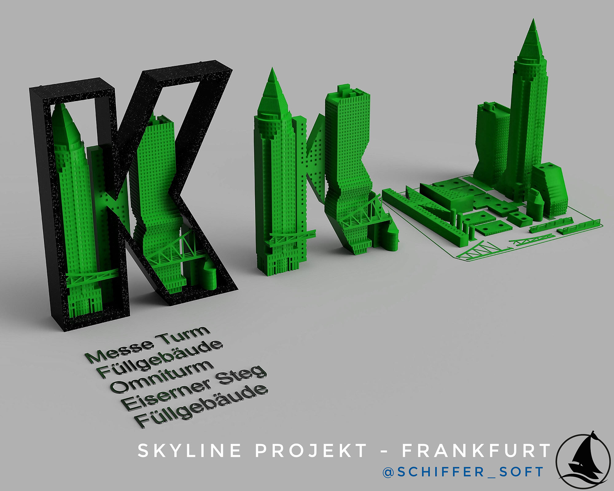 MesseTurm Frankfurt 3D Druck Vorlage - Skyline Frankfurt