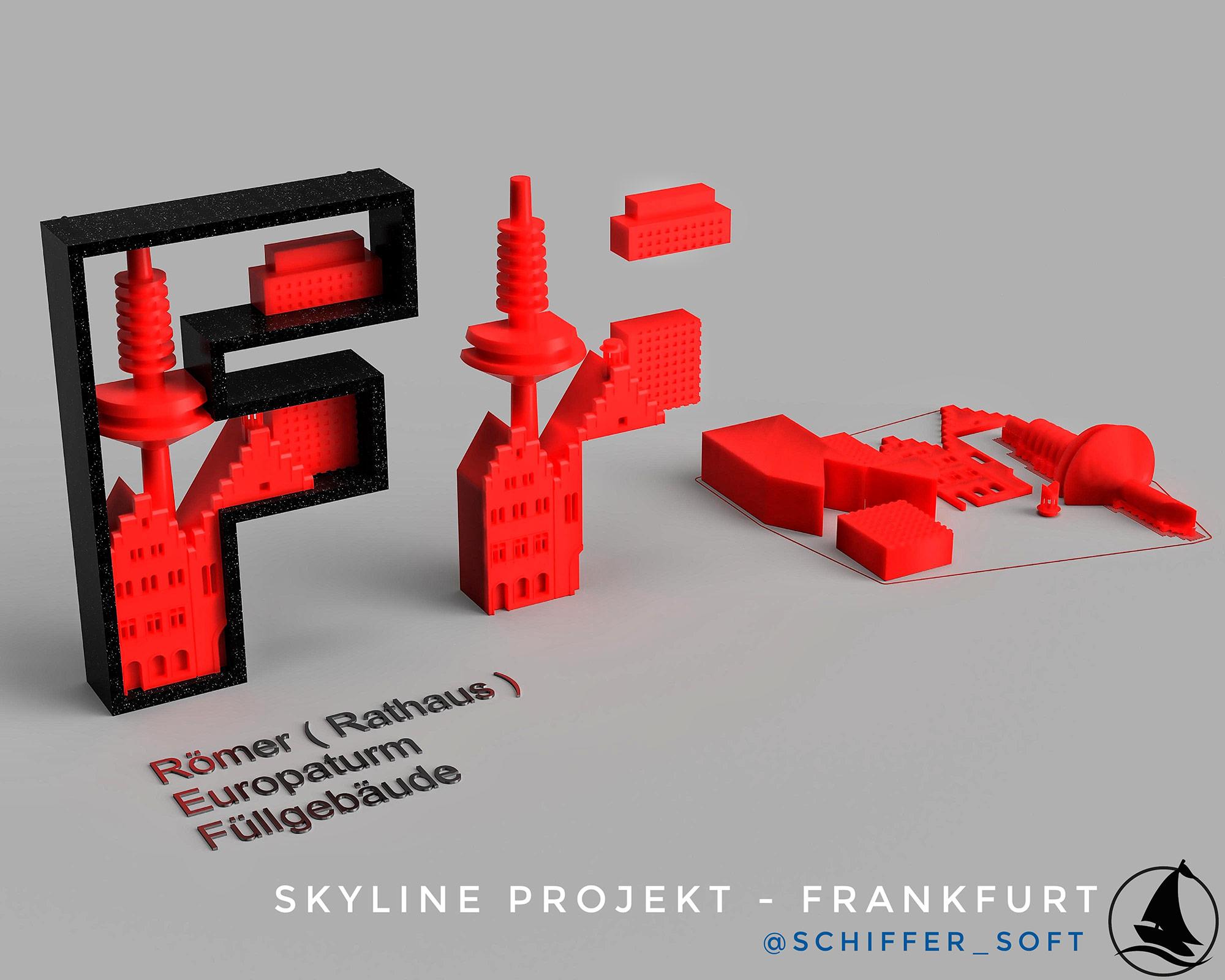 Stadt Frankfurt Modell 3D Druck