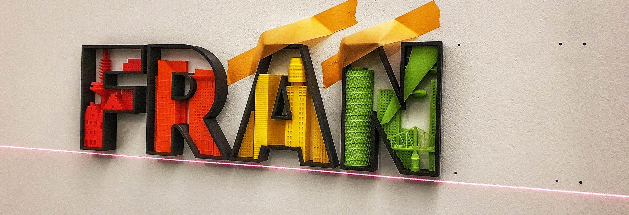 Wandmontage Schrift Frankfurt 3D