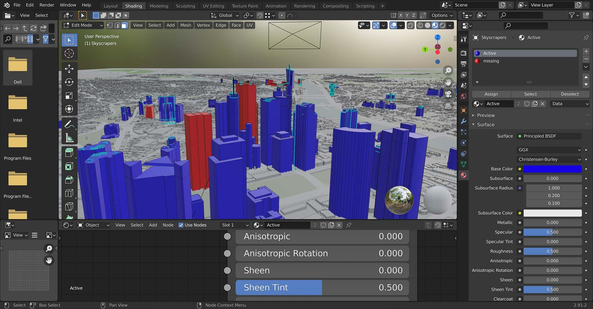 3D Immobilien Karte Frankfurt - Konstruktion von Hochhäusern in 3D Programm