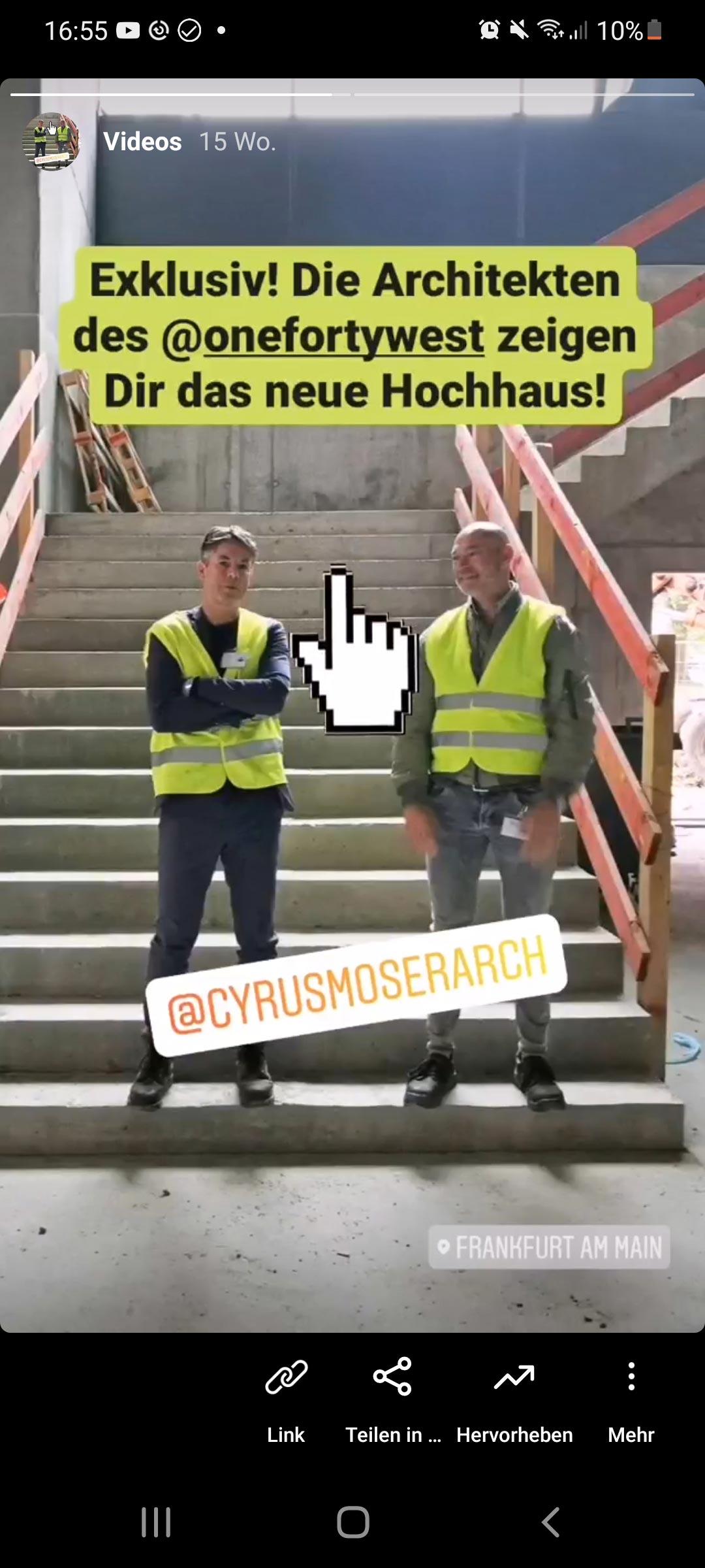 Architekten Social Media Instagram - CMA Frankfurt - Cyrus Moser Architekten - Beispiel für gute Social Media Arbeit von Architekten und Planern