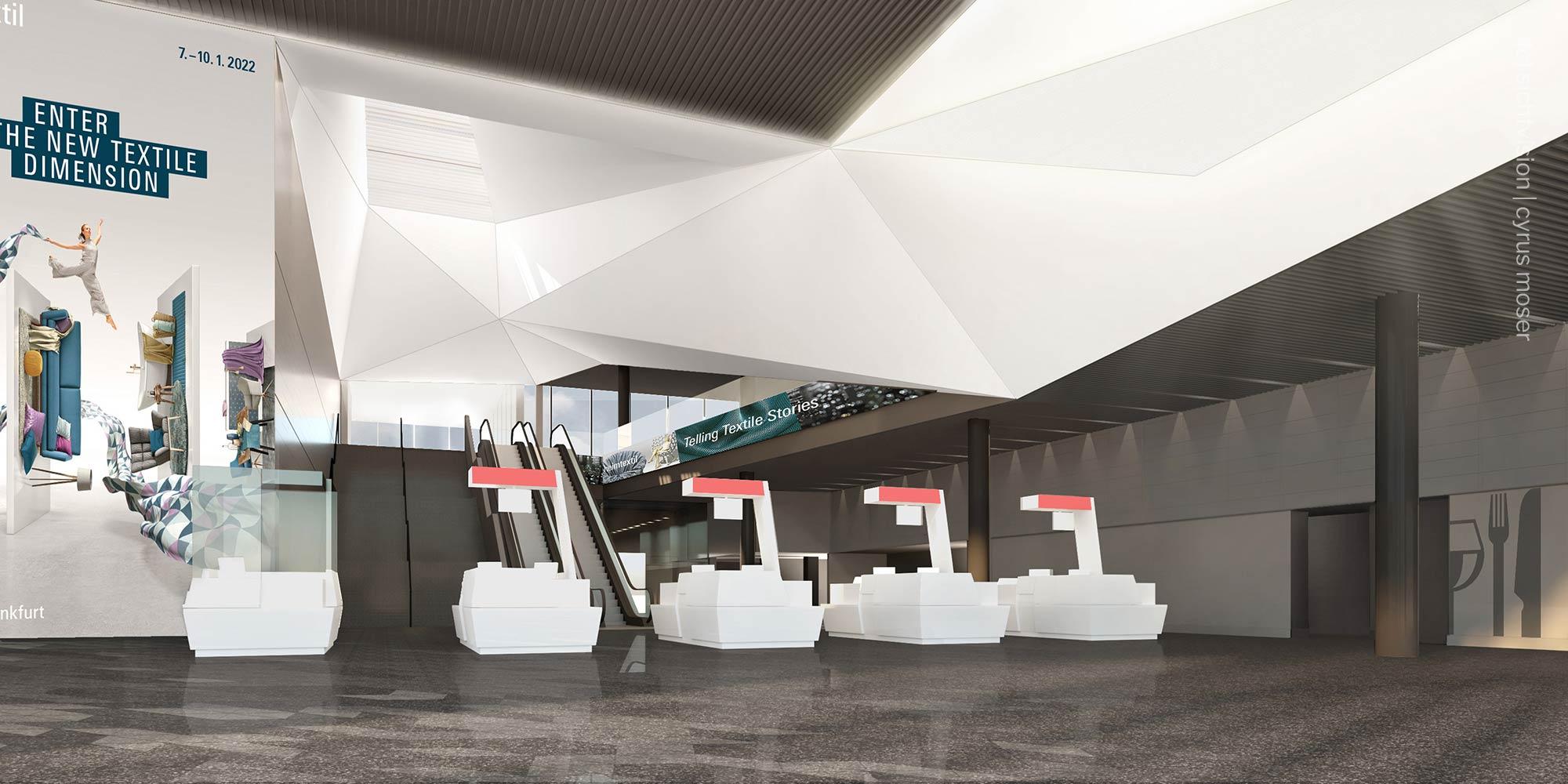 Heimtextil Frankfurt - Messe Frankfurt neuer Eingang - Computer Animation Sparda Tower Frankfurt