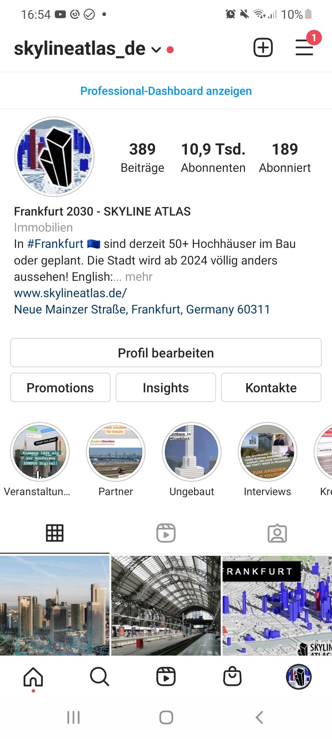 Immobilienportal SKYLINE ATLAS auf Instagram - Beispiel für soziale Median - Vorbild Instagram