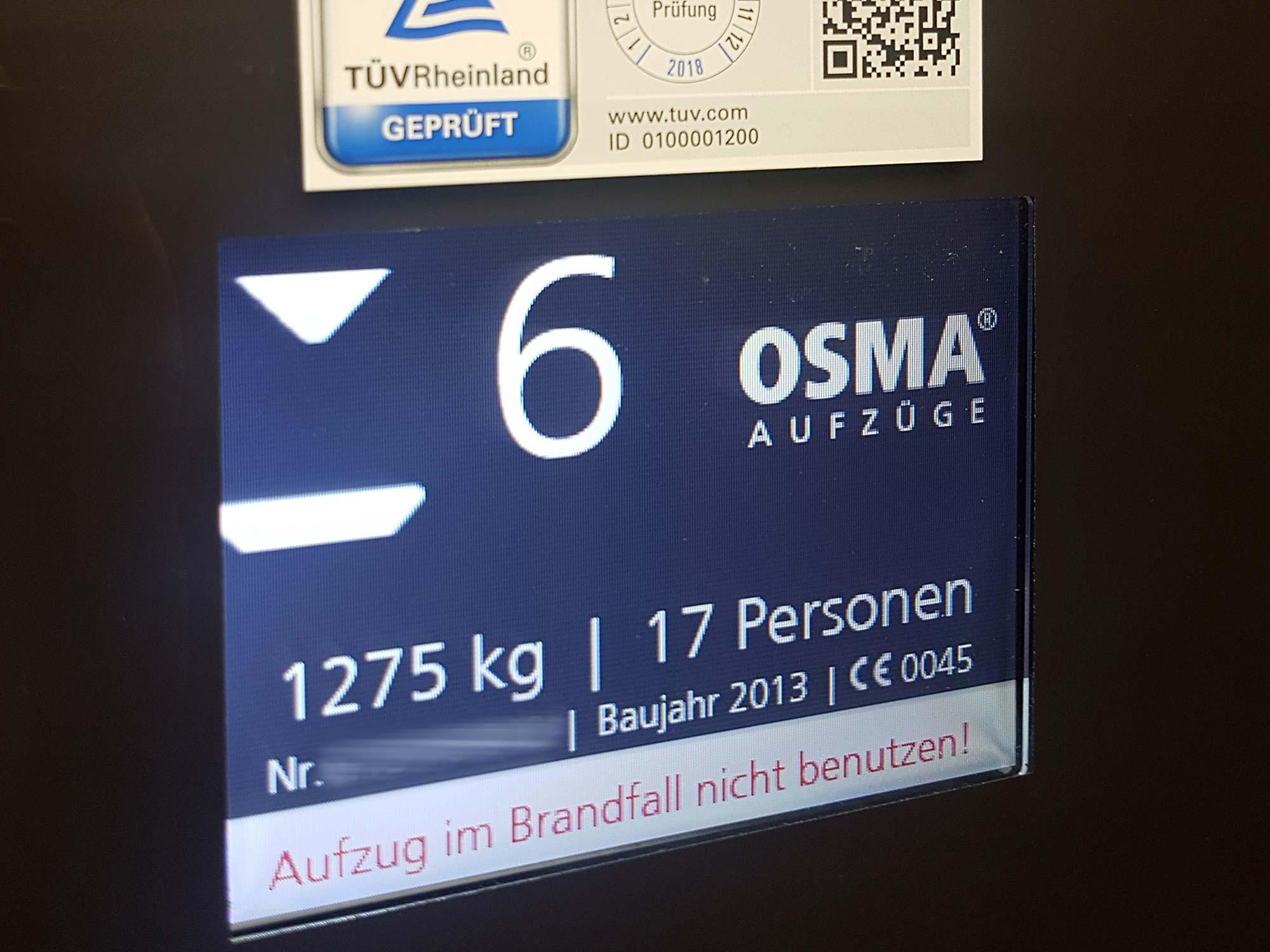 OSMA Aufzüge Frankfurt - Hochhaus Aufzug - TÜV Rheinland