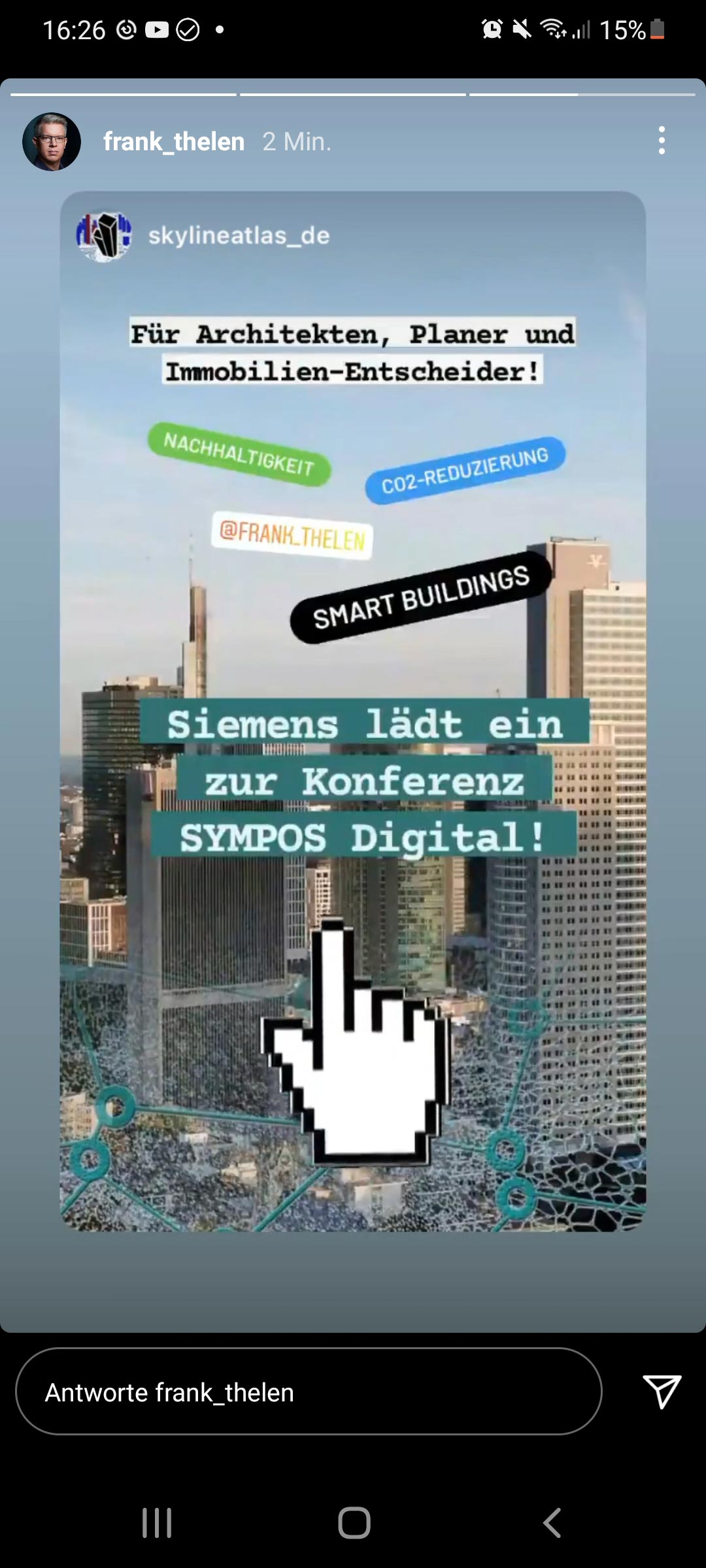 Sympos Digital 2021 - Siemens Infrastructure - Siemens Social Media Post - Frank Thelen Instagram - SKYLINE ATLAS Instagram - Smart Buildings Veranstaltung