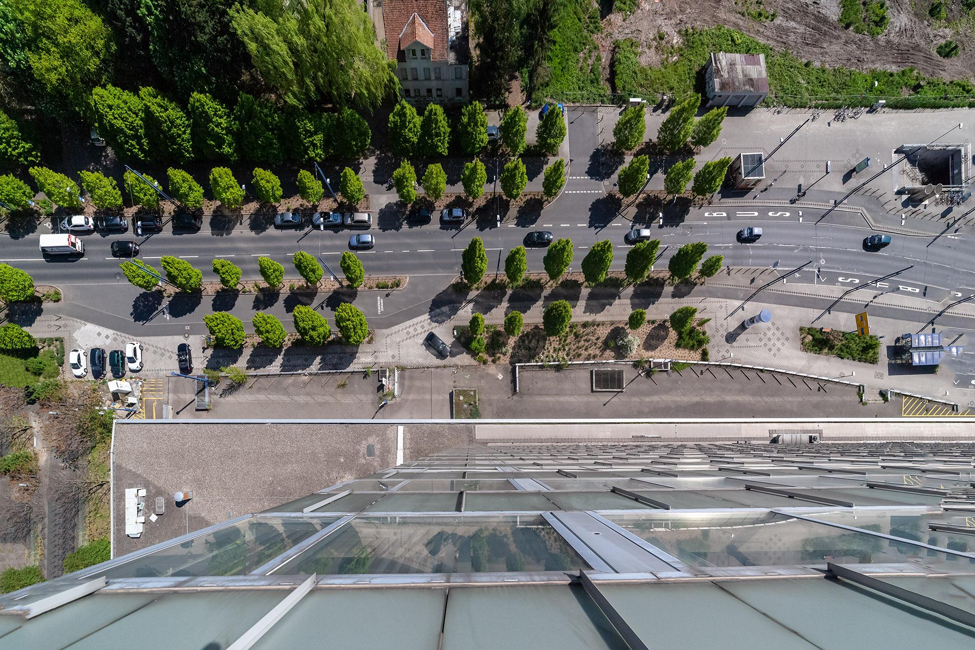 Blick von oben auf Berliner Strasse , Vogelperspektive , Modellstadt , Architektur , Umwelt , Lebensqualität , Urban Heat Island , Verkehrsführung , Kaiserlei