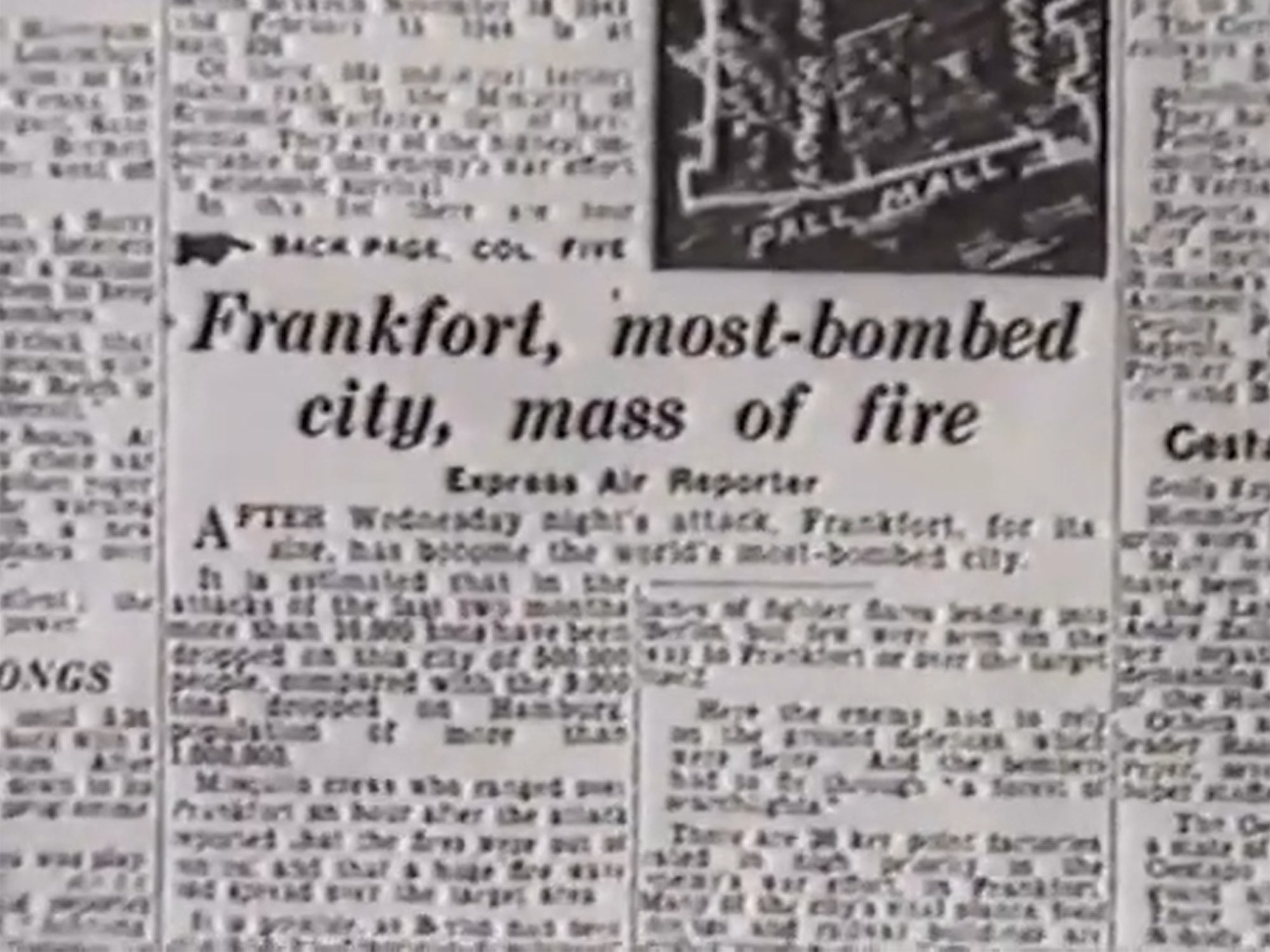 Daily Express: Frankfurt is the most-bombed city of the world during World War II